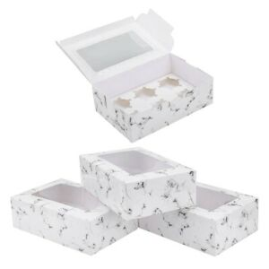 15 Pack Marble Cookie Boxes With Window Pastry Bakery Boxes With Window Cak Q6d2