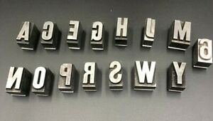 Metal Printing Press Typeset Block Lot Of 16 Letters And Number 6