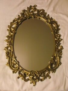 Vintage Large Syroco Ornate Gold Scroll Wall Mirror Hollywood Regency Gorgeous