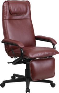 High Back Burgundy Leather Executive Reclining Swivel Chair With Arms Bt 70