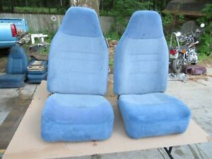 92 96 Ford Truck Bronco Blue Reclining Front Bucket Seats Nice
