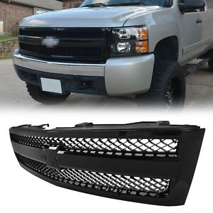 New Body Style Grille For 2007 13 Chevrolet Silverado 1500 Painted Black Plastic