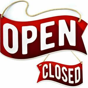 Open Closed Sign For Business Door Reversible Double Sided With Banner Style