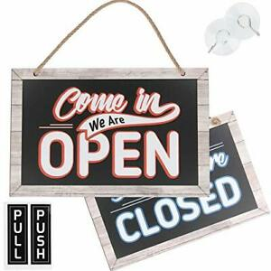Open Closed Sign For Business Bundle With 2 Suction Cup Pull And Push