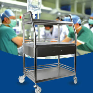 3 Tiers Medical Trolley Mobile Rolling Serving Cart Stainless Steel Dental Cart