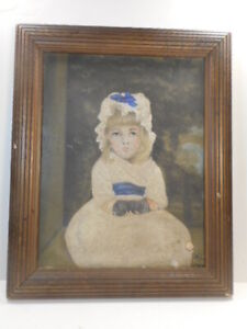 Early 20th C Oil On Board Portrait Of A Young Girl Dated 1919