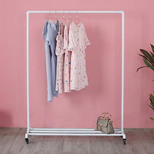 Industrial Clothing Rack On Wheels Boutique Display Clothes Rack With Shelf