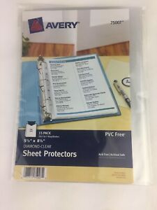 Avery Diamond Clear 75007 15 Sheet Protectors 8 5 X 5 5 3 Or 7 Ring Acid free