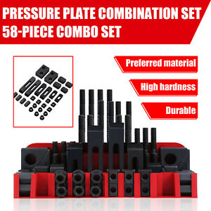 58 Pieces 1 2 T slot Clamping Kit Mill Machinist Pressure Plate Combination Set