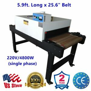 4800w 5 9ft x25 6 Belt Small T shirt Conveyor Tunnel Dryer For Screen Printing
