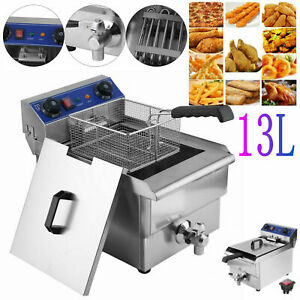 13l Electric Deep Fryer Tank Stainless Steel Commercial 1650w Restaurant W timer