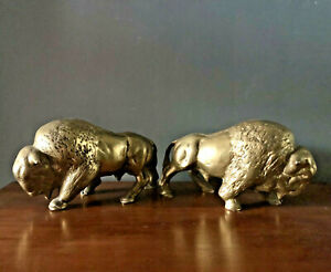 Vtg Cast Solid Brass Pair Of Buffalo Bison 8lb Each Bookends Ornaments Old West