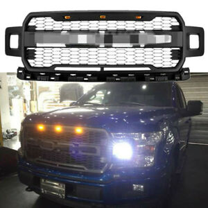 Fits For 18 20 Ford F150 Raptor Style Front Bumper Grille Matte Black Grill