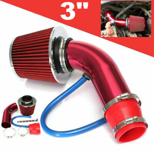 76mm 3 Universal Car Cold Air Intake Filter Alumimum Induction Pipe Hose Kit