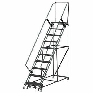Ballymore Sw1032p 10 Step 24 w Steel Safety Angle Rolling Ladder W Handrails