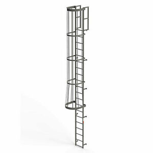 Ega Fc20 Steel Fixed Cage Ladder 20 Step Gray