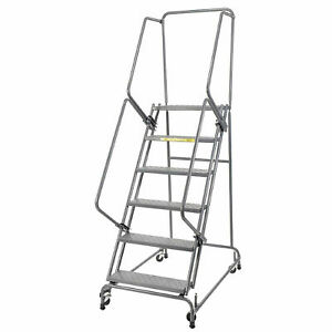 Ballymore Ss630p 6 Step 24 w Stainless Steel Rolling Ladder W Rails Perforated