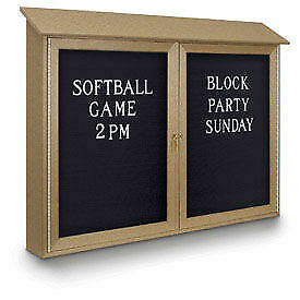 United Visual Products 52 w X 40 h Letter Board Double Door Message Center With