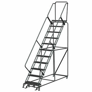 Ballymore Sw1132p 11 Step 24 w Steel Safety Angle Rolling Ladder W Handrails