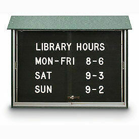United Visual Products 45 w X 30 h Letter Board Sliding Door Message Center