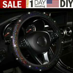 Us Auto Accessories Pu Leather Car Bling Shining Steering Wheel Cover Black