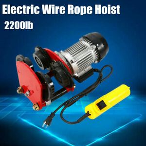 Electric Wire Rope Hoist W Trolley L beam Links 2200lbs 4ft Cable Length Us