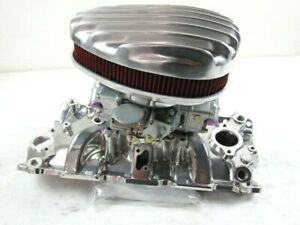 55 79 Chevy 327 350 Intake 600cfm Carb Air Cleaner Set Polished