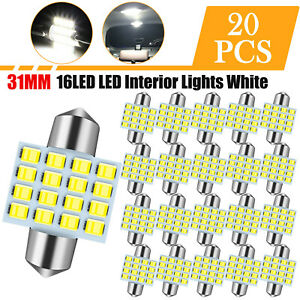 20x White 31mm Interior Map Dome Door Trunk Led Light Bulbs License Plate Lamp