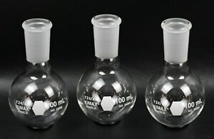 Lot Of 3 Kimax Glass 50ml Round Bottom Boiling Flask 24 40 Joint 25285