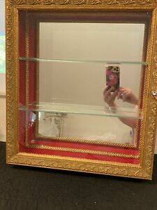 Wall Hanging Wood Curio Cabinet Display Case Glass Shelves Mirror Hollywood Mcm