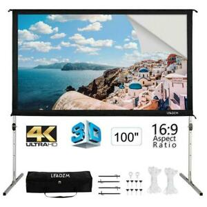 100 Fast Folding 4k 3d Projector Screen Stand Movie Projection And Carry Bag