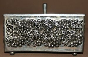 Vintage Hand Made Ornate Floral Grapes Silver Plated Box