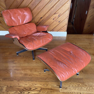 Rare 1956 Herman Miller Eames Lounge Chair And Ottoman In Orange 1st Year
