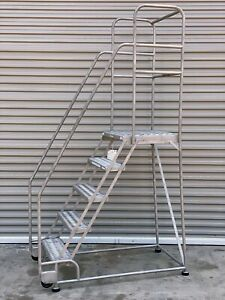 Cotterman Tilt n roll 5 step 304 Stainless Steel Rolling Stair Ladder Usa Made