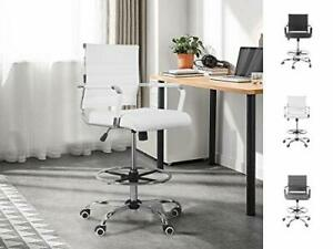 Drafting Chair Stool Office Ergonomic Footrest Leather Tall Arms White