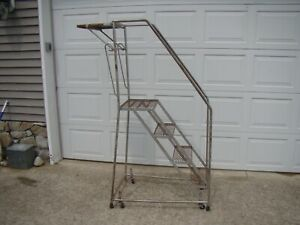 4 Step Steel Rolling Industrial Warehouse Ladder Loft Style Must Have Accessory