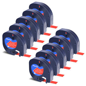 10x Black On Red Tape Label For Dymo Letra Tag Lablemaker Lt 91333 12mm 1 2