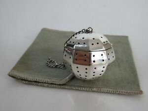 Heavy American Art Deco Sterling Silver Decagon Tea Ball Infuser Pouch C1930s