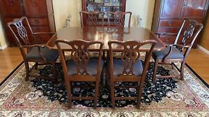 Antique Mahogany Chippendale Double Pedestal Dining Table And Six Chairs