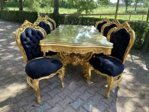 Italian Baroque Style Dining Table With 6 Dining Chairs Custom Made