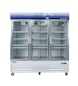 New Norpole Npgf3 s 53 Cu Ft 3 Glass Door Reach in Commercial Freezer In White