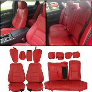 For 2018 2021 Honda Accord Sport Ex Hybrid Sedan Front Rear Set Seat Covers Red