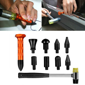 Car Body Pit Dent Removal Repair Tools 9 Heads Tap Down Pen Set Rubber Hammer