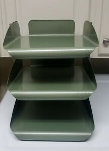 Vintage Metal Green 3 Tier Letter Tray Paper Organizer Industrial Very Nice