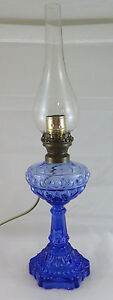Lamp Desk Or Table Glass Blue Lampshade Vintage With Lampshade R76