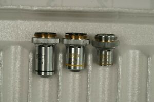 Microscope Objective Lens Set Of 3 Misco Made In Japan