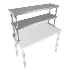 Stainless Steel Commercial 12 X 48 Double Overshelf For Kitchen Prep Table