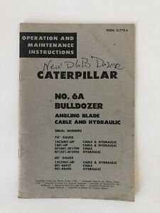 Caterpillar No 6a Bulldozer Operation And Maintenance Instructions 24 Pages