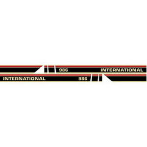 New 986 Red Stripe W cab International Harvester Tractor Hood Decal Kit
