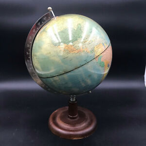 Vintage Unbranded 10 High Gloss World Globe On Wooden Stand Nice